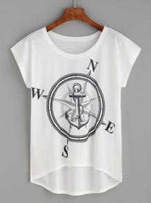 T-shirt asymétrique motif boussole et ancre - blanc