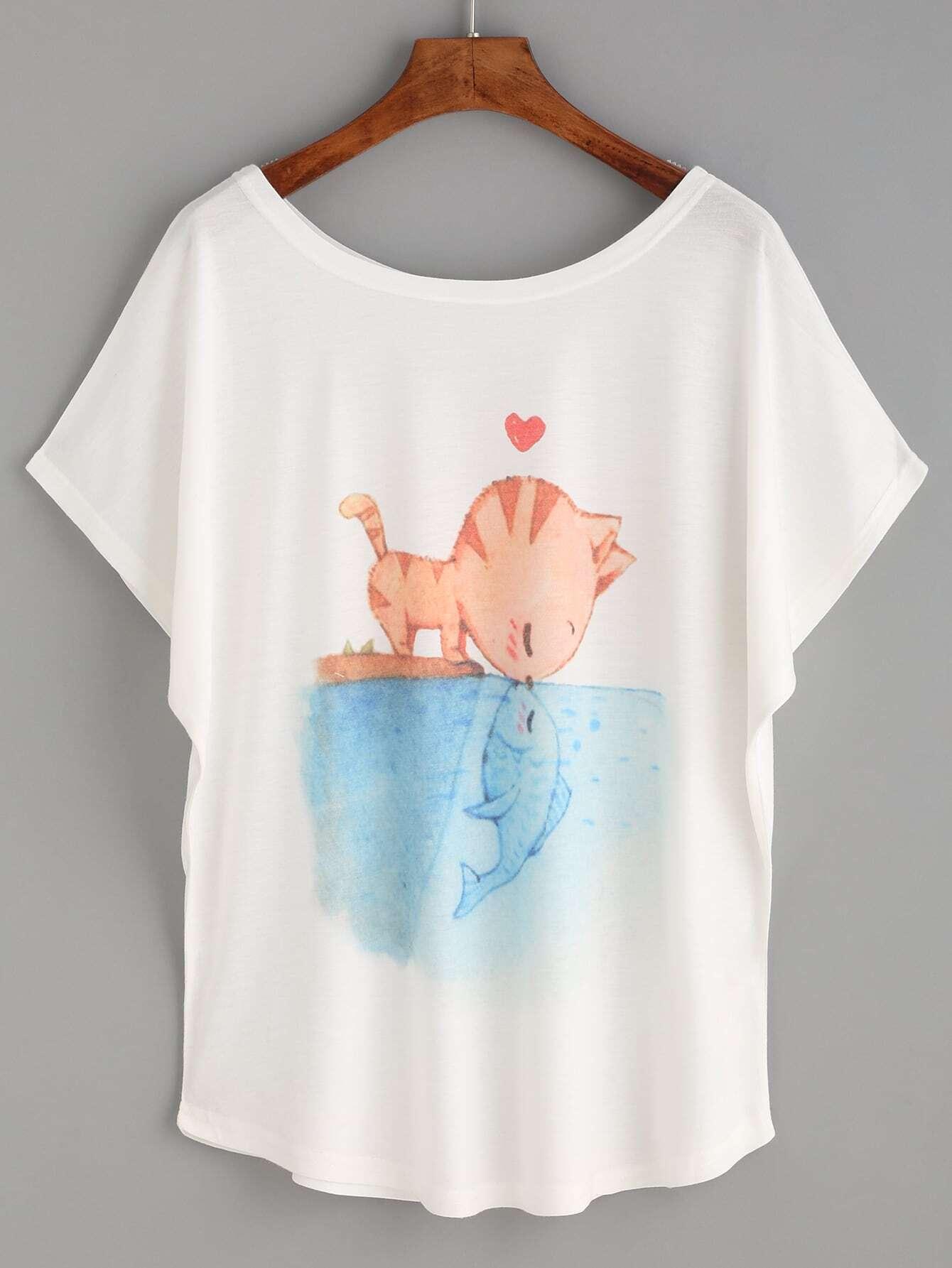 White cat and fish print t shirtfor women romwe for Fish print shirt