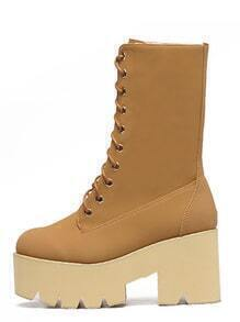 Round Toe Lace-up Faux Fur Boots