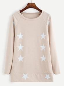 Sweat-shirt col rond motif étoiles - abricot