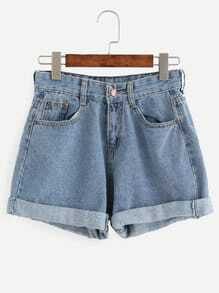 Denim Shorts mit Roll-Saum