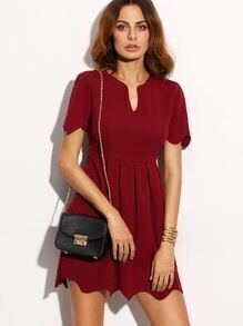Scalloped Burgundy Notch Neck A Line Dress