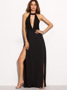 rückenfreies Kleid Neckholder Schlitz - schwarz