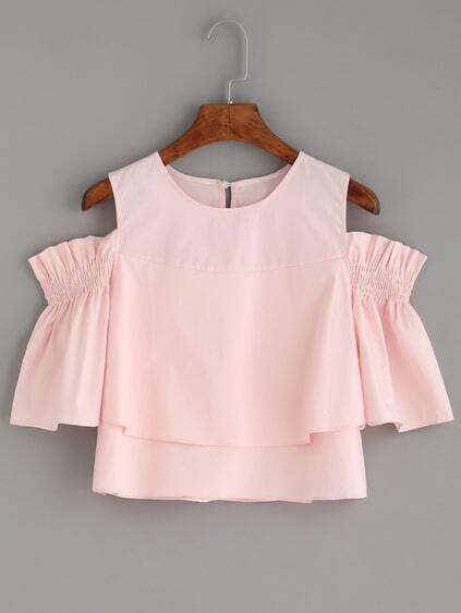 Pink Keyhole Cold Shoulder Ruffle Blouse
