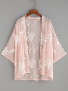 Kimono avec broderie motif fleur - rose