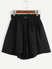 Black Elastic Waist Belt Chiffon Shorts