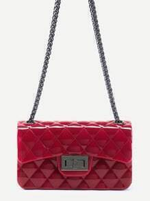 Red Plastic Quilted Flap Bag With Chain