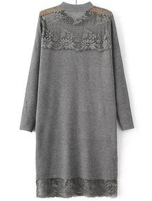 Suéter largo con encaje manga larga - gris