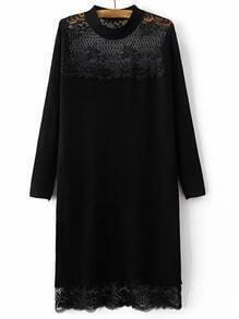 Suéter largo con encaje manga larga - negro