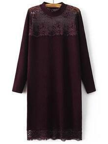 Suéter largo con encaje manga larga - borgoña