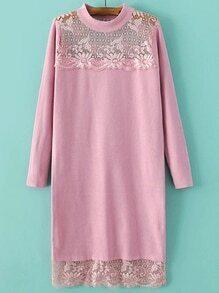 Jersey largo con encaje - rosa