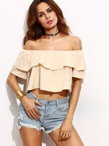 Apricot Off The Shoulder Ruffle Top