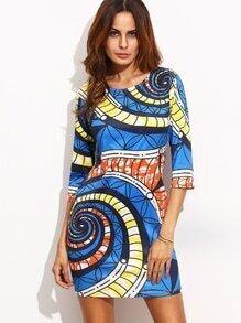 Vestido ajustado estampado espiral - azul
