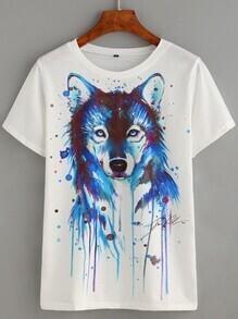T-shirt imprimé motif loup - blanc