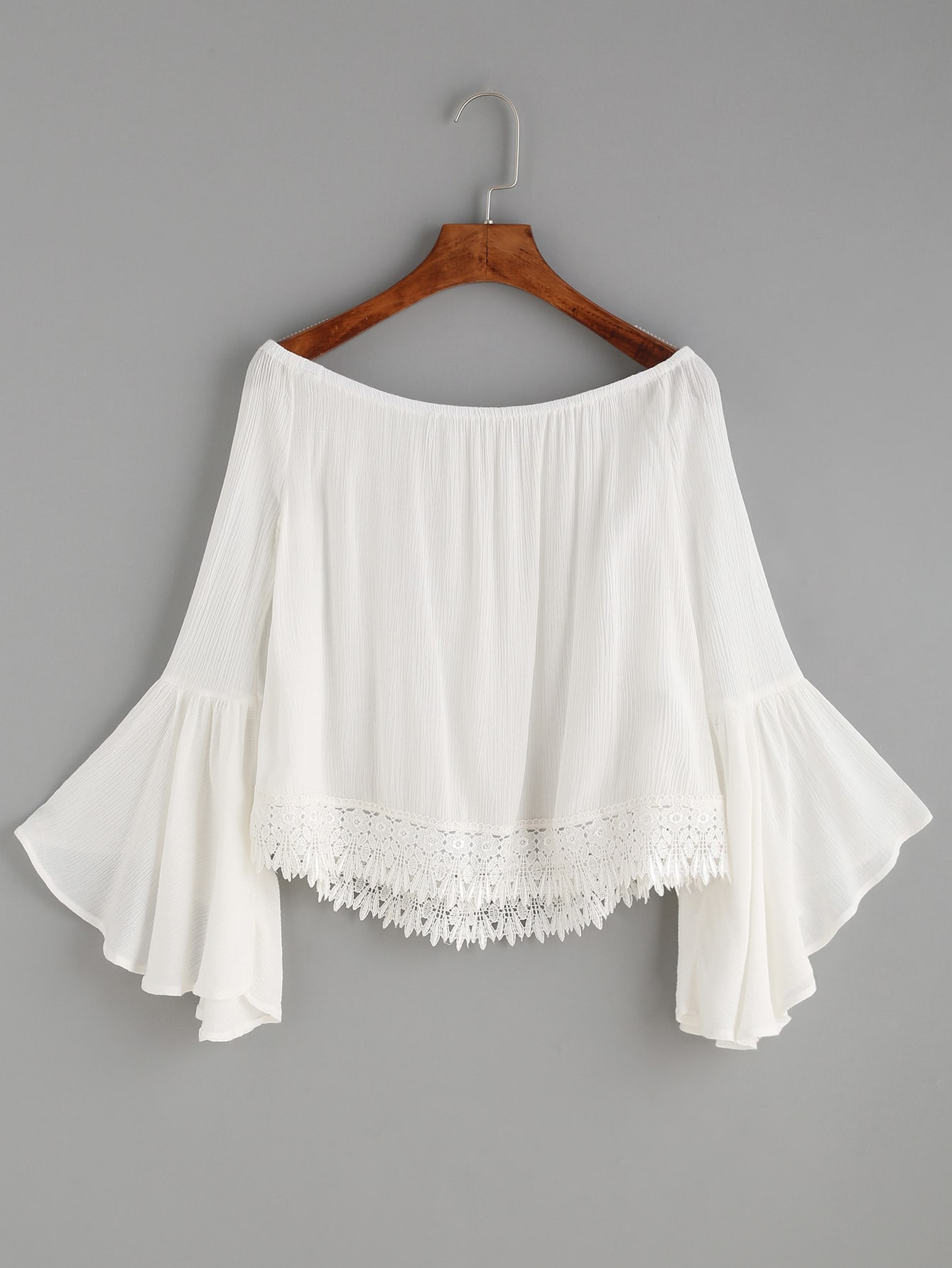 White Lace Trim Bell Sleeve Off The Shoulder Topfor Women