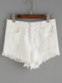 White Button Fly Ripped Raw Hem Denim Shorts