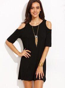 Black Open Shoulder T-shirt Dress