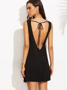 Black Tied V Back Tank Dress