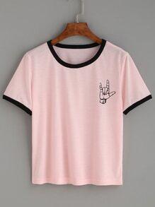 T-shirt contrasté motif geste d'amour - rose