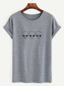 Heather Grey Alien Print Roll Sleeve T-shirt
