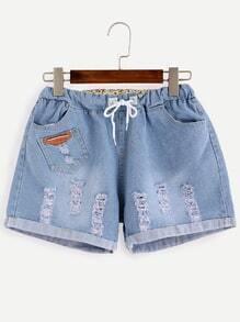 Blue Ripped Roll Hem Drawstring Denim Shorts