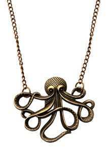 Antique Bronze Octopus Statement Necklace