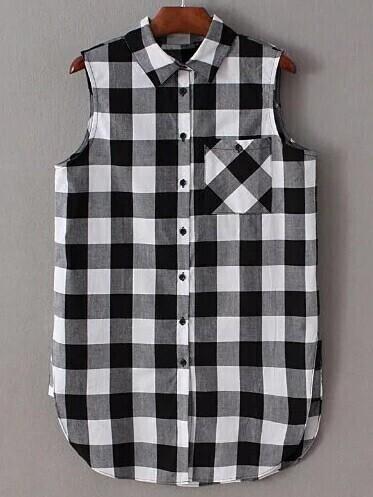 Blusa a cuadros con botones negro blanco spanish romwe - Cuadros con botones ...