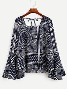 Navy Paisley Print Tie Back Bell Sleeve Blouse