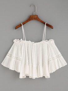 Top hombros al aire volantes con croché - blanco
