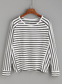 White Mixed Striped Raglan Sleeve T-shirt