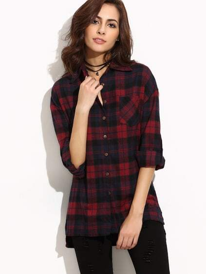 Burgundy Plaid Drop Shoulder Roll Tab Sleeve Blouse