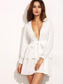 Kleid Langarm mit tiefem V-Ausschnitt - ivory