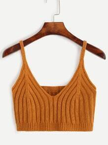 Brown Knit Crop Cami Top