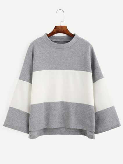 Color Block Long Sleeve Dip Hem T-shirt