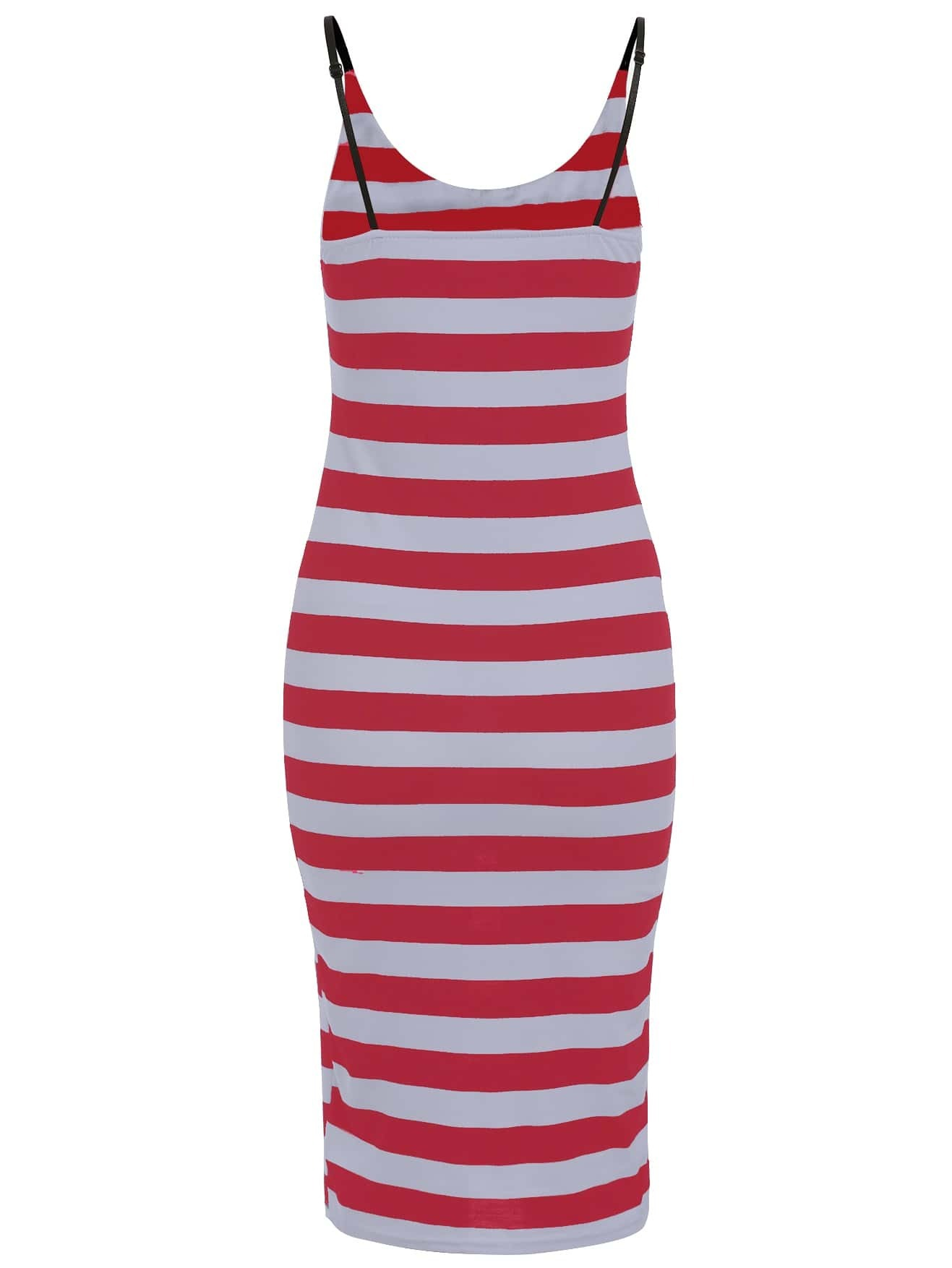 Robe longue rayures paules nues rouge french romwe for Interieur paupiere inferieure rouge
