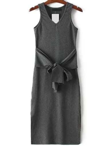 Dark Grey Ribbed V Neck Side Slit Dress With Self Tie