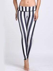 Contrast Striped Wide Waistband Slim Leggings