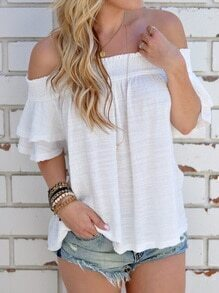 White Cutout Back Smocked Off The Shoulder Top
