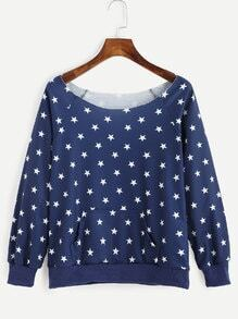 Navy Star Print Pullover Sweatshirt With Pocket