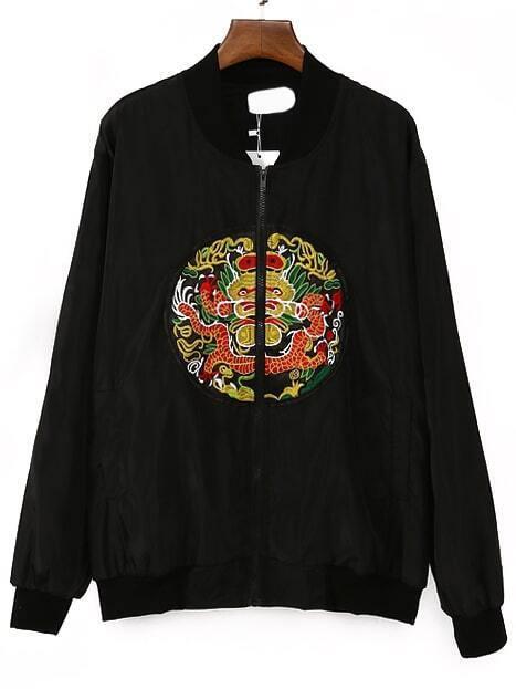 Black dragon embroidered bomber jacketfor women romwe