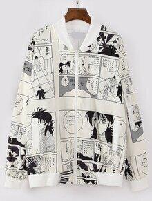 Beige Comic Print Bomber Jacket