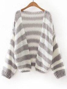 Grey And White Stripe Slim Cardigan