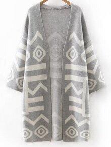 Grey Printed Long Cardigan