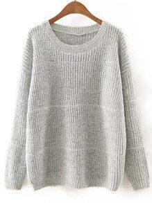 Gery Round Neck Plain Knitwear