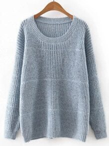 Blue Round Neck Plain Knitwear