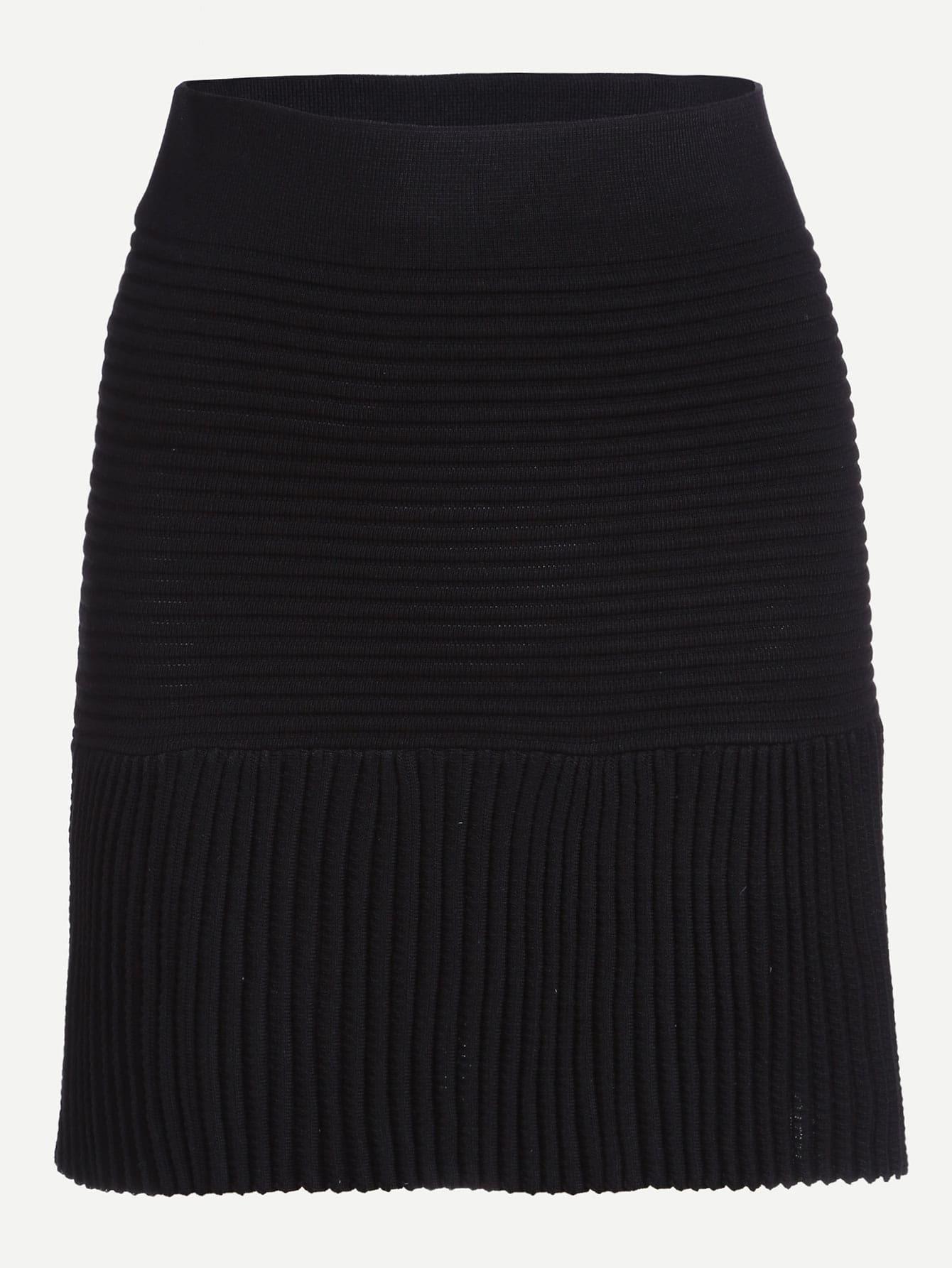 black ribbed knit a line skirt