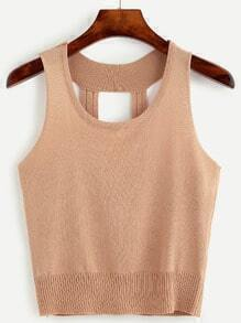 Camel Caged Back Knit Tank Top