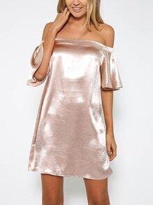 Metallic Pink Off The Shoulder Ruffle Sleeve Dress