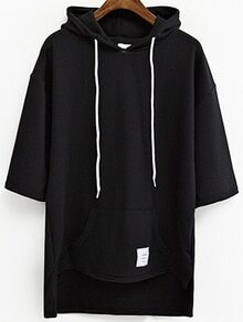 Black Drop Shoulder High Low Hooded Sweatshirt With Pocket