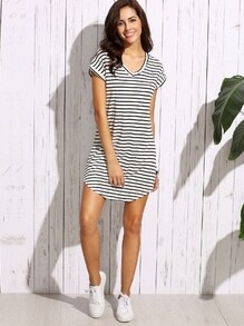 Black White Striped Drop Shoulder Tshirt Dress